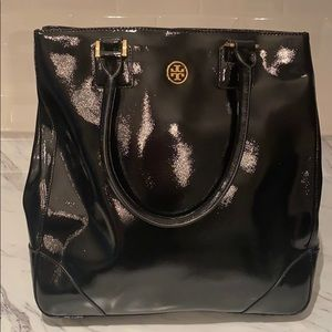Tory Burch Black Patent Leather Tote